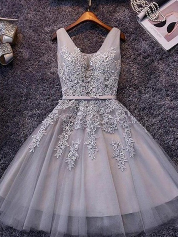 Amazing A-Line Sleeveless Straps Tulle Short Dress