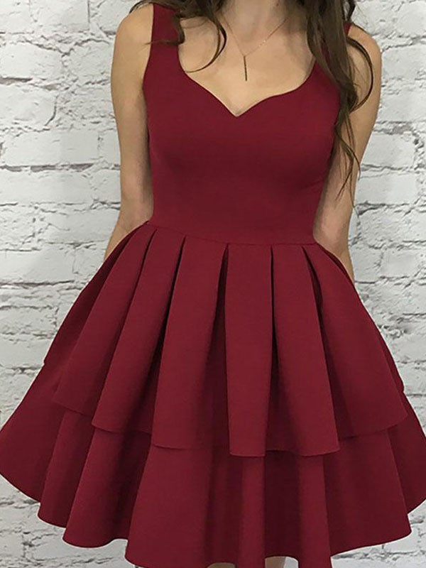 Chic A-Line Sleeveless Straps Satin Short Dress