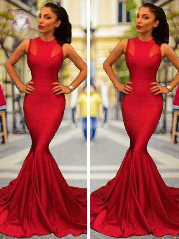 Beautiful Mermaid Sleeveless Court Train Elastic Woven Satin Dress