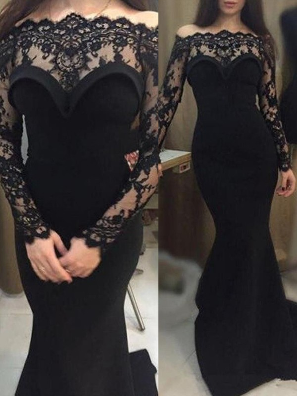 Stunning Mermaid Long Sleeves Off-the-Shoulder Sweep/Brush Train Lace Elastic Woven Satin Dress