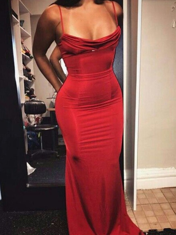 Chic Sheath Sleeveless Spaghetti Straps Floor-Length Spandex Dress