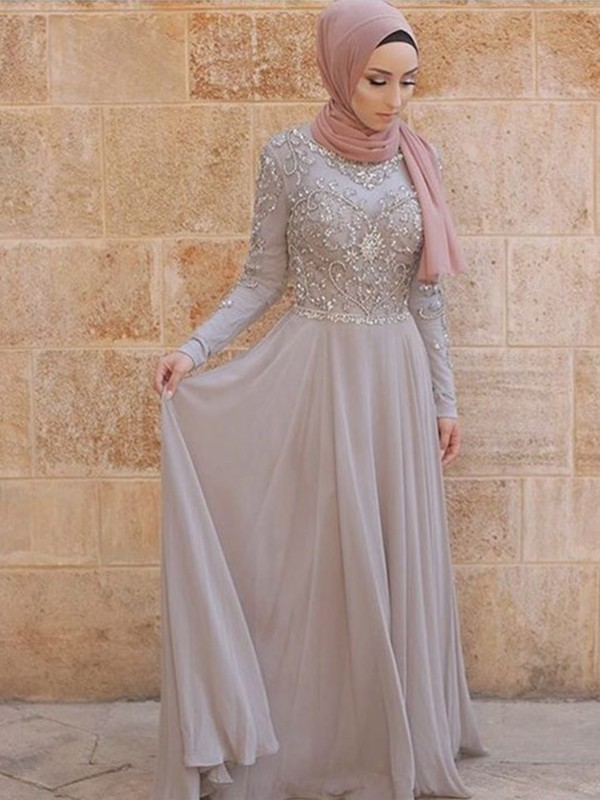 Stylish A-Line Long Sleeves Scoop Sweep/Brush Train Tulle Muslim Dress