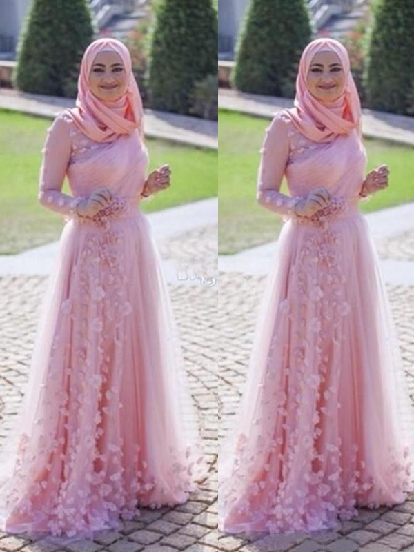 Exquisite A-Line Long Sleeves Scoop Sweep/Brush Train Tulle Muslim Dress