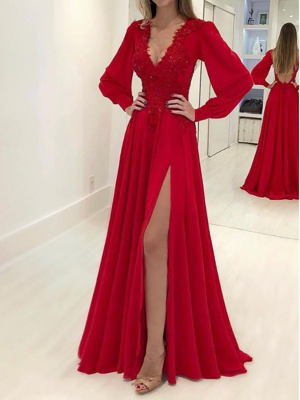 New A-Line Long Sleeves V-neck Sweep/Brush Train Chiffon Dress