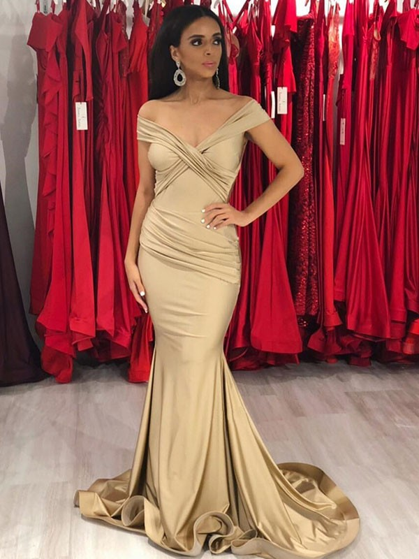 Elegant Mermaid Sleeveless Off-the-Shoulder Sweep/Brush Train Spandex Dress