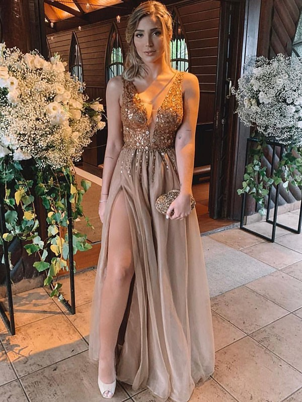 Exquisite A-Line Sleeveless V-neck Floor-Length Rhinestone Tulle Dress