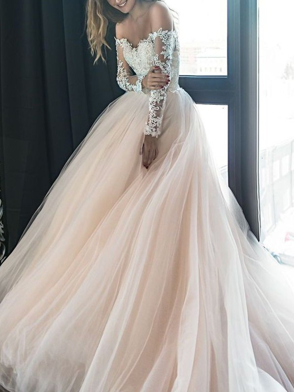 Charming A-Line Off-the-Shoulder Long Sleeves Court Train Tulle Wedding Dress