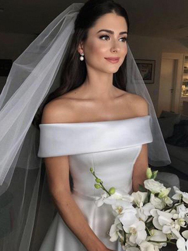 Fashion A-Line Off-the-Shoulder Sleeveless Sweep/Brush Train Satin Wedding Dress