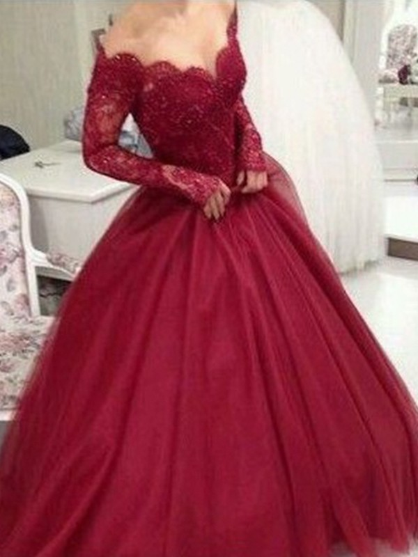 Beautiful Ball Gown V-neck Long Sleeves Floor-Length Lace Tulle Dress