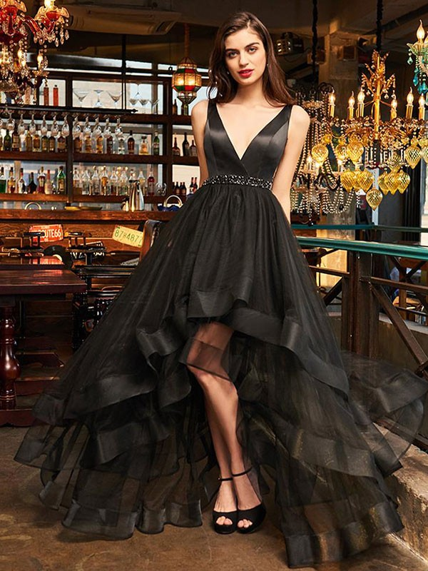 Discount A-Line Sleeveless V-neck Asymmetrical Organza Dress