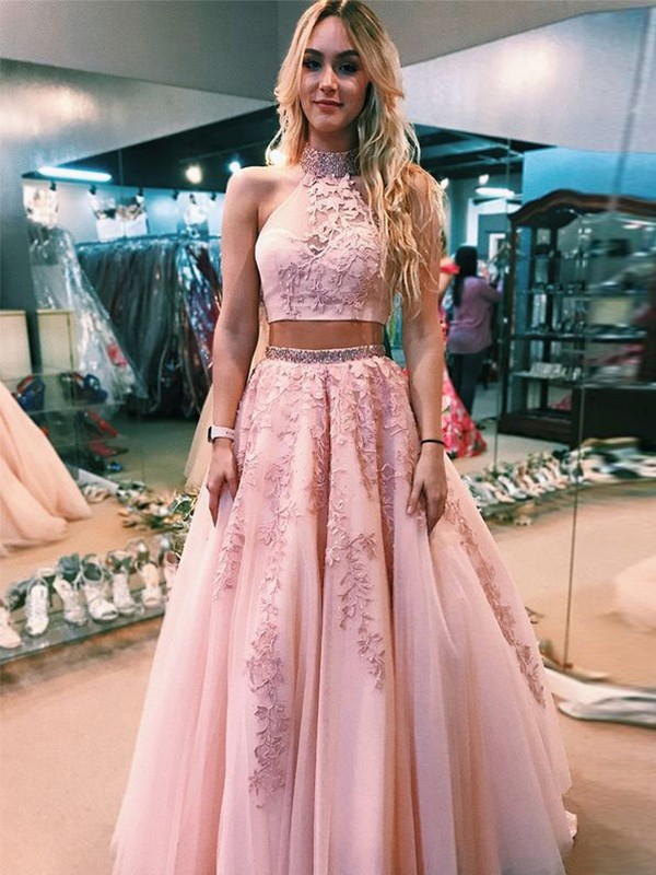 Discount A-Line Sleeveless Halter Floor-Length Tulle Two Piece Dress