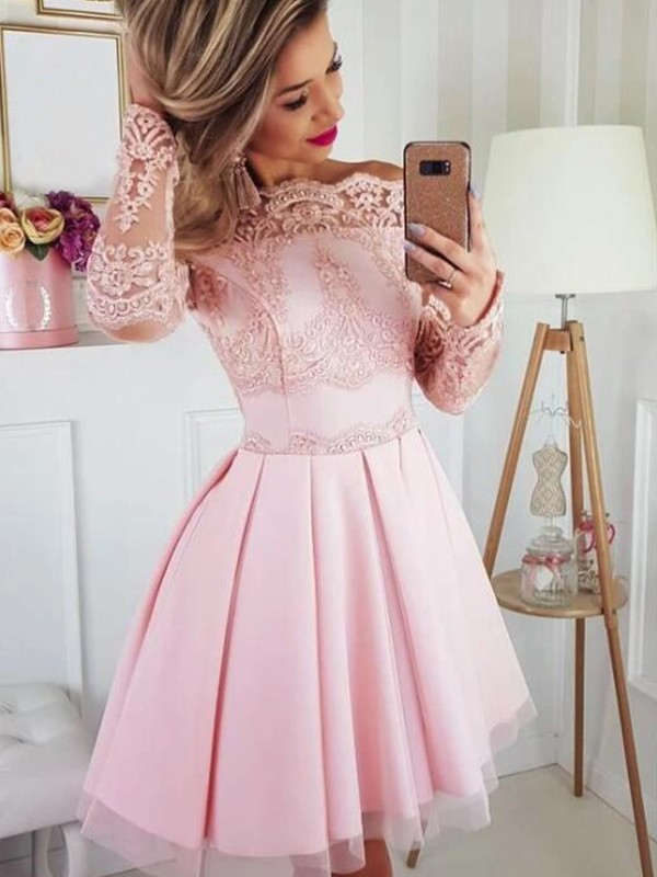 Amazing A-Line Satin Lace Off-the-Shoulder Long Sleeves Short/Mini Dress
