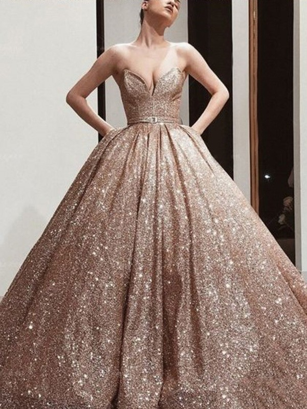 New Arrival Ball Gown Sequins Sweetheart Sweep/Brush Train Dress