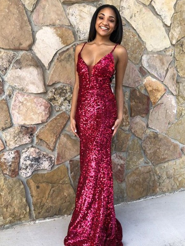 Perfect Mermaid Sequins V-neck Sleeveless Sweep/Brush Train Dress