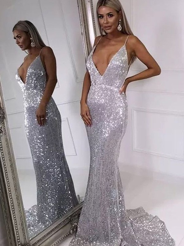 Charming Mermaid V-neck Sweep/Brush Train Sleeveless Sequins Dress
