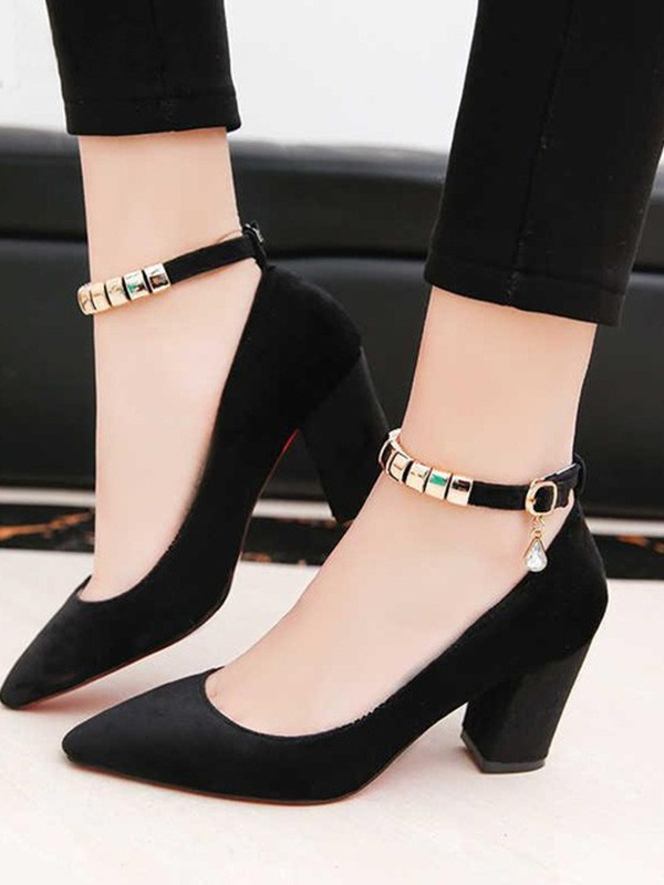 New Women Girls PU Chunky Heel Closed Toe Sandals