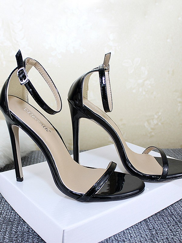 New Women Girls Patent Leather Stiletto Heel Peep Toe Sandals