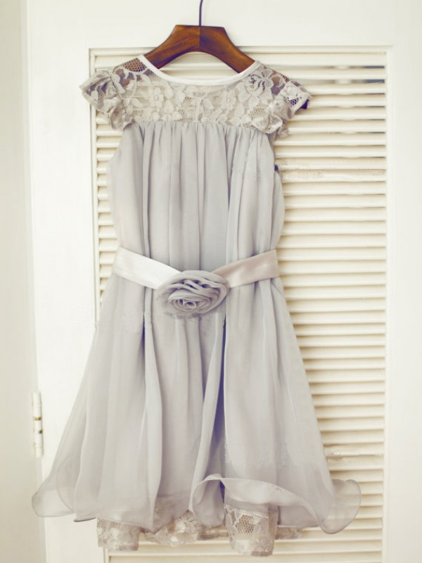New A-line Scoop Tea-length Chiffon Flower Girl Dress