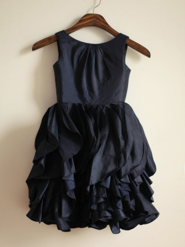 Glamorous A-line Jewel Tea-length Taffeta Flower Girl Dress