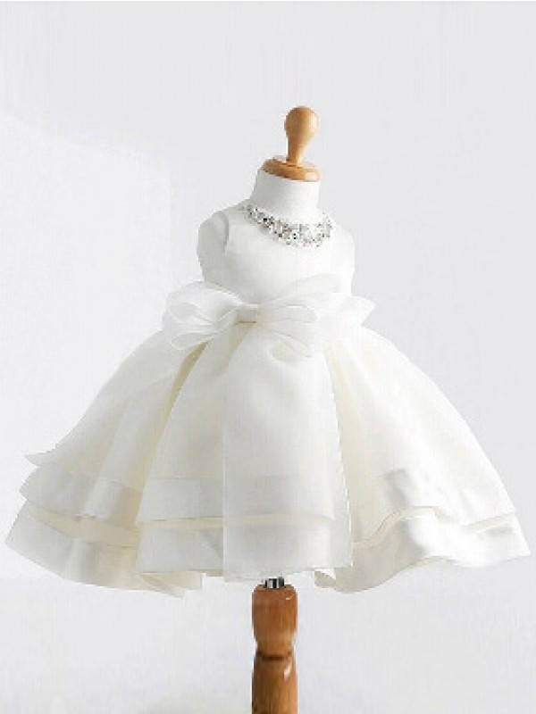 Stunning Ball Gown Jewel Tea-length Satin Flower Girl Dress