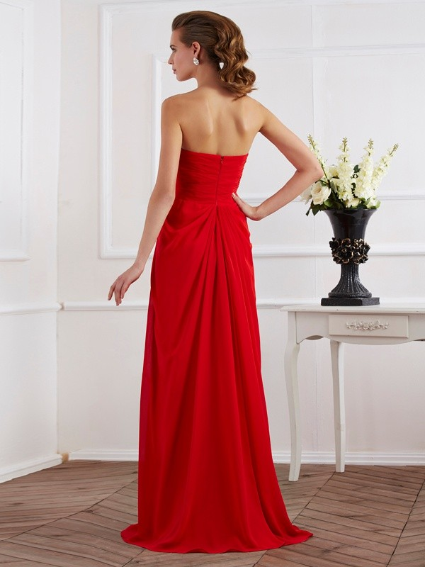 Beautiful Sheath Strapless Sleeveless Long Chiffon Dress