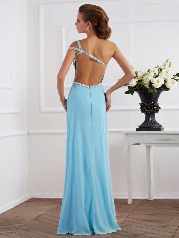 Beautiful A-Line Sleeveless One-Shoulder Long Chiffon Dress