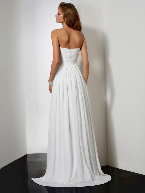 Beautiful A-Line Strapless Sleeveless Long Chiffon Dress