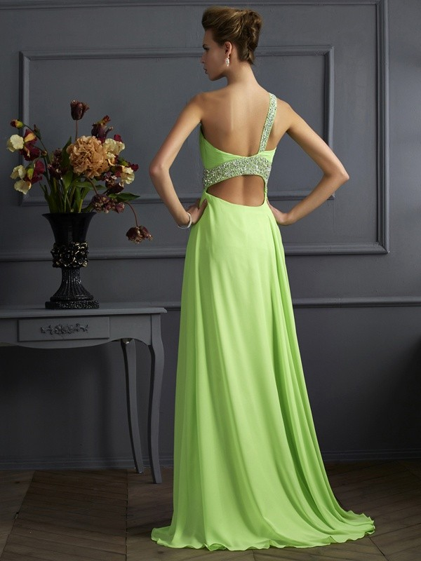 Beautiful A-Line Sleeveless One-Shoulder Chiffon Long Dress