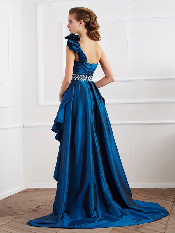 Elegant A-Line One-Shoulder Sleeveless High Low Taffeta Dress