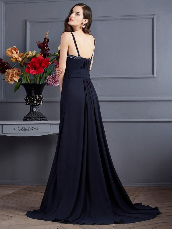 Chic A-Line Spaghetti Straps Sleeveless Long Chiffon Dress