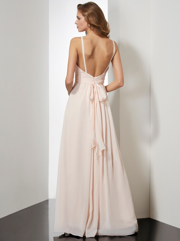 Chic Sheath Spaghetti Straps Sleeveless Long Chiffon Dress