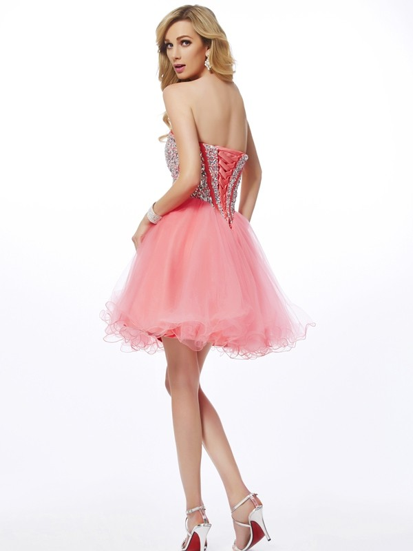 Chic A-Line Sweetheart Sleeveless Short Net Homecoming Dress