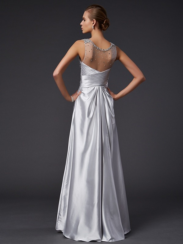Chic A-Line V-neck Sleeveless Long Elastic Woven Satin Dress