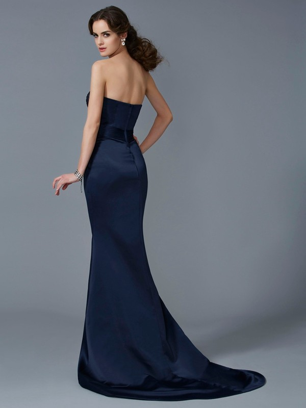 Chic Mermaid Strapless Sleeveless Long Satin Dress