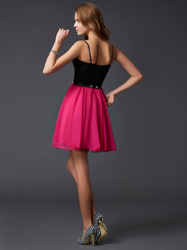 Stylish A-Line Spaghetti Straps Sleeveless Short Chiffon Homecoming Dress