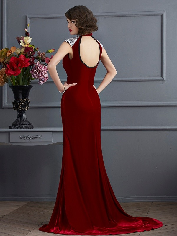 Stylish A-Line High Neck Sleeveless Long Dress