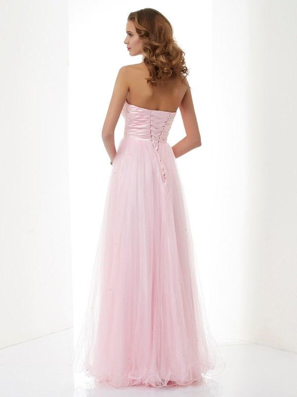 Stylish A-Line Sweetheart Sleeveless Long Elastic Woven Satin Dress