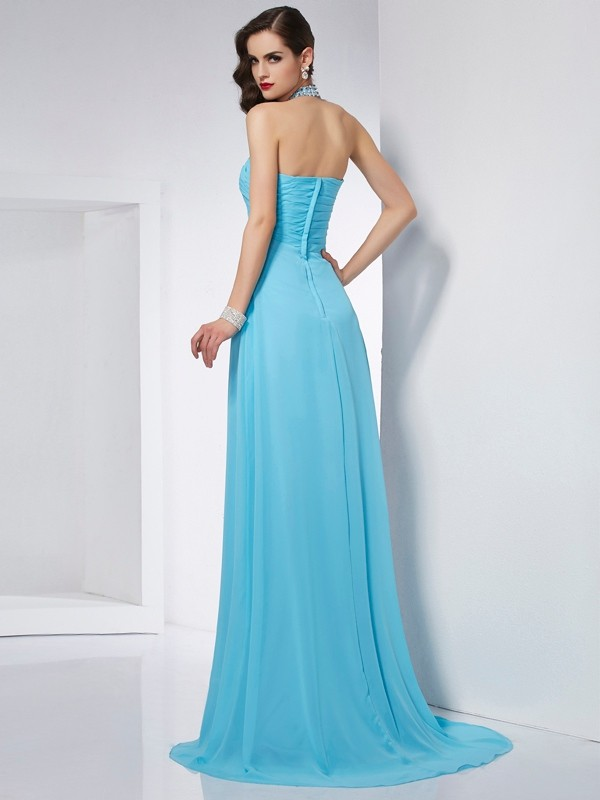 Stylish A-Line Halter Sleeveless Long Chiffon Dress