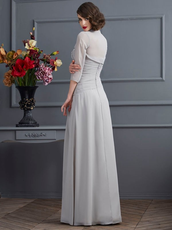 Fashion A-Line One-Shoulder Sleeveless Long Chiffon Mother of the Bride Dress