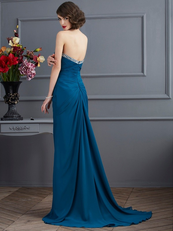 Fashion Sheath Sweetheart Sleeveless Long Chiffon Dress