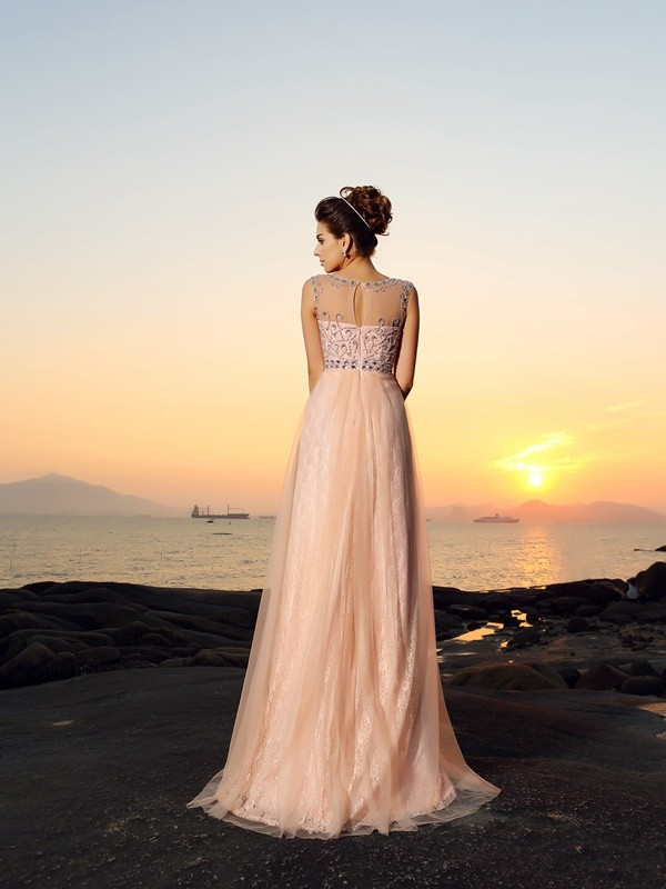 Fashion A-Line Bateau Lace Sleeveless Long Chiffon Dress