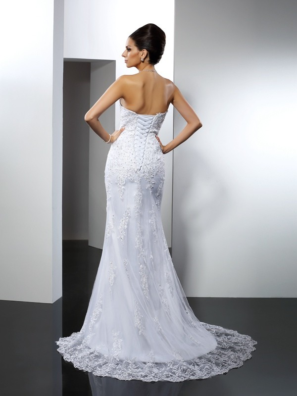 Fashion Mermaid Sweetheart Lace Sleeveless Long Satin Wedding Dress