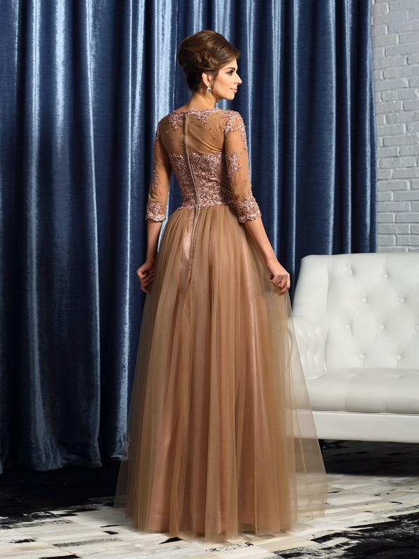 Exquisite A-Line Scoop 3/4 Sleeves Long Elastic Woven Satin Mother of the Bride Dress
