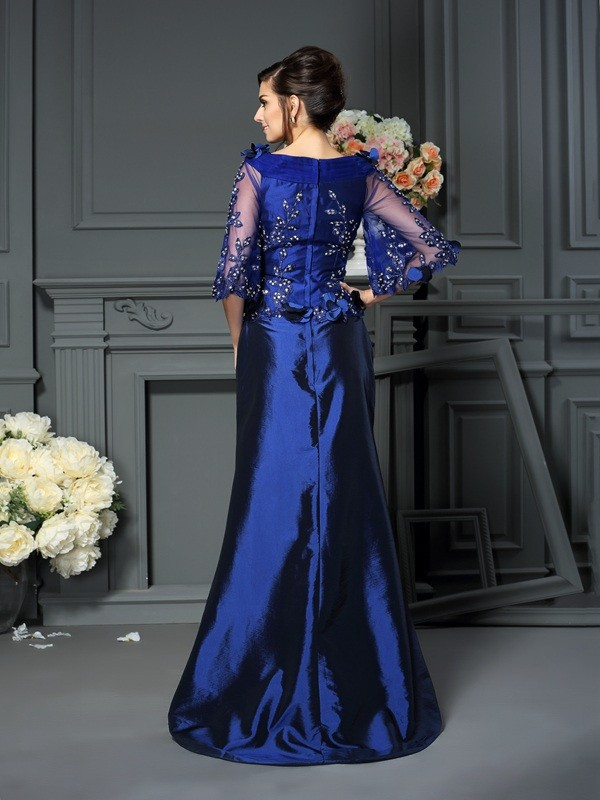 Exquisite A-Line Scoop 1/2 Sleeves Long Taffeta Mother of the Bride Dress
