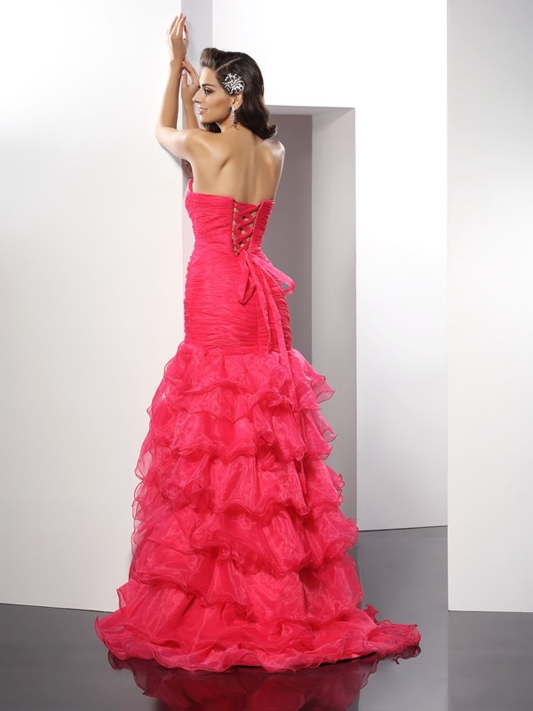 Exquisite Sheath Sweetheart Sleeveless Long Organza Dress
