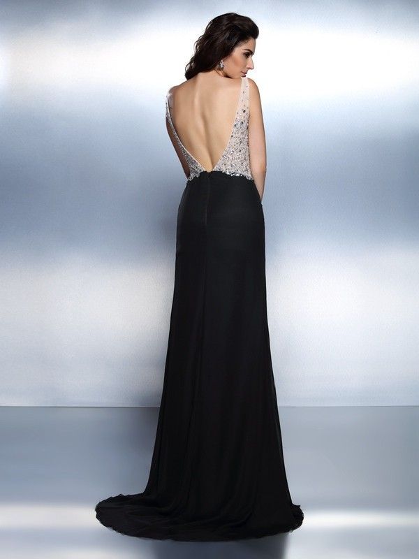 Exquisite Mermaid V-neck Sleeveless Long Chiffon Dress