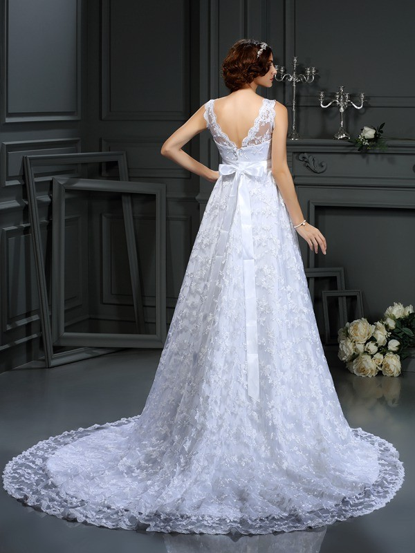 Exquisite A-Line V-neck Lace Sleeveless Long Satin Wedding Dress