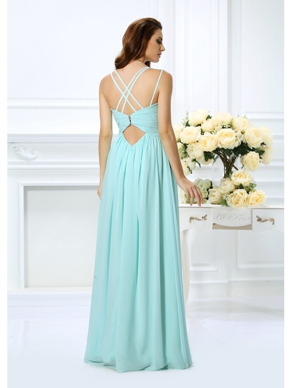 Exquisite A-Line Spaghetti Straps Sleeveless Long Chiffon Dress