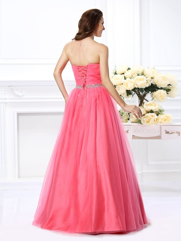 Exquisite Ball Gown Sweetheart Sleeveless Long Satin Quinceanera Dress