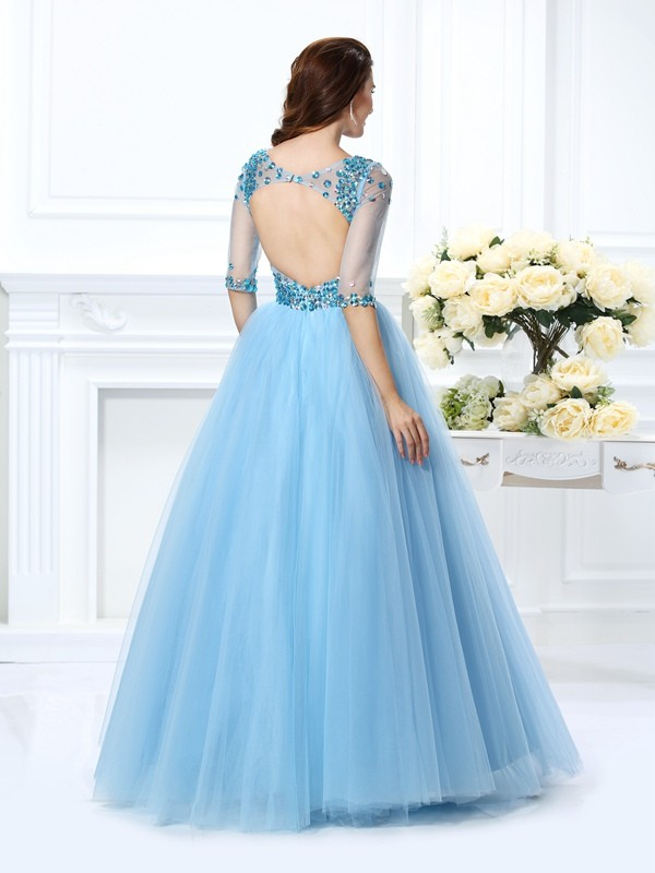 Exquisite Ball Gown V-neck 1/2 Sleeves Long Satin Quinceanera Dress